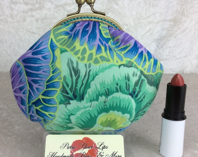 Handmade coin purse frame kiss clasp fabric change wallet pouch Philip Jacobs Kaffe Fassett Cabbages Brassica
