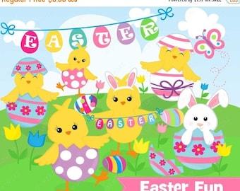 75% OFF SALE Easter Chicks Clipart, Commercial Use, Easter Peeps Vector, Digital Clip Art, Easter Eggs - UZ890