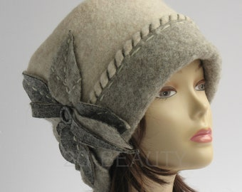 Plus size clothing Gift for mom Gift Beanie Cloche hat Wool hat Gift mom Winter hat Plus size hat Casual hat Gray winter hat Winter warm hat