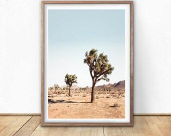 Joshua Tree Print, Desert Poster, Digital Download, Printable Poster, California Desert, Cactus Print, Modern Boho, Minimalist Photo