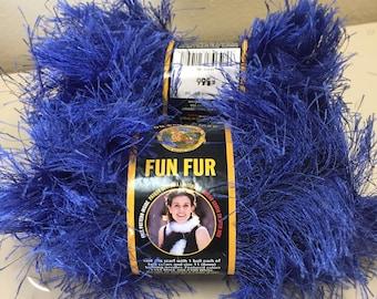 Lion Brand Fun Fur Yarn Sapphire Blue #109 Eyelash Discontinued Color 2 Skeins
