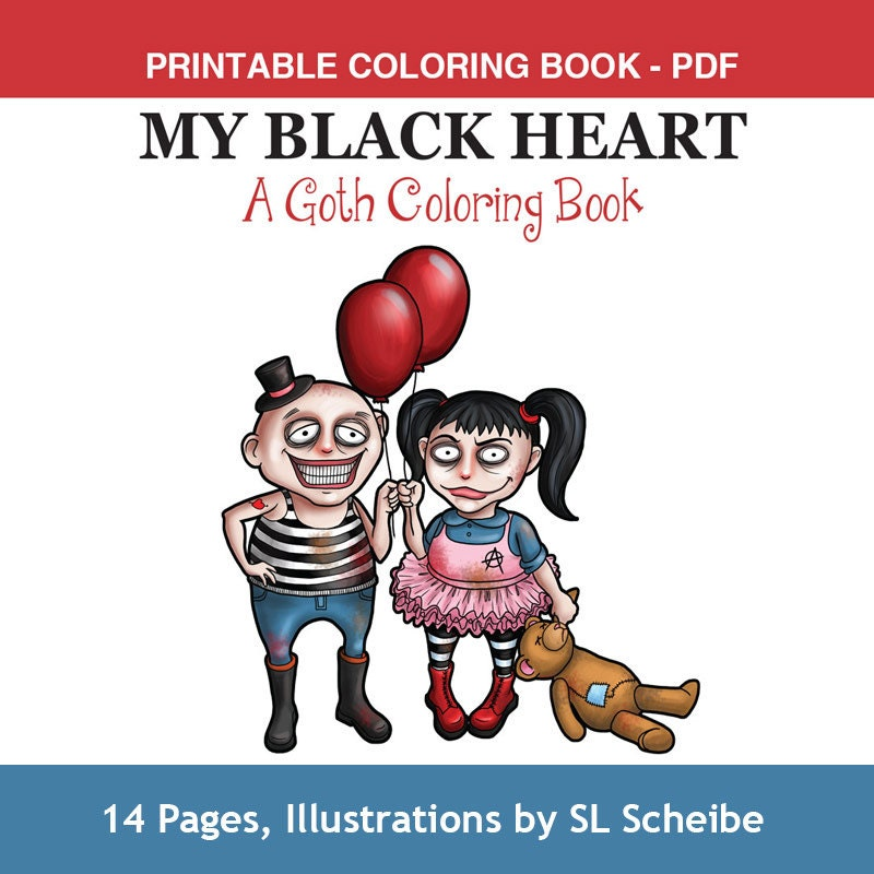 Goth Girls Adult Coloring Book PDF printable adult coloring