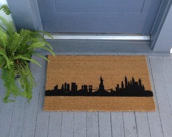 New York, NY City Skyline Door Mat - Hand Painted