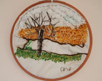 Embroidery hoop landscape
