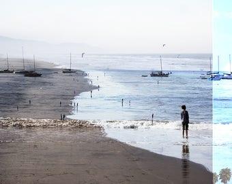 Photographie d'art / / grande plage photographie / / Oceanside Art Print / Print bleu et sable / / plage personnes Santa Monica / / plage Collage III
