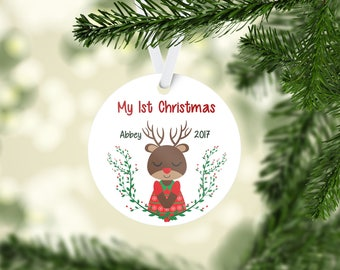 Personalized 1st Christmas Ornament - Girl Deer