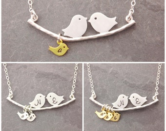 Grandma Necklace, 1-10 kids, gifts for mom, love birds, mom necklace, family necklace, nana, bird necklace, gifts for mom, new mom, N1