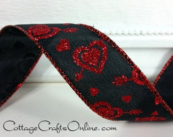 "Valentine Wired Ribbon, 1 1/2"" Red Glitter Hearts and Arrows on Black   - THREE YARDS - Offray ""Love Struck"" Craft Wire Edged Ribbon"