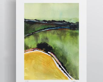 Watercolour English Landscape - Yellow Green - A3 - A4 size - Fine Art Print - Limited Edition - Inspired by countryside in Dorset