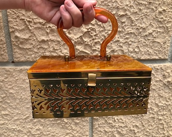 """Snazzy Show Stopper Bakelite & Metal Purse """"Have Fun...Lots of it""""Got it at The Plastic Flamingo Rockabilly Style'n Lady Mid Century Charm"""