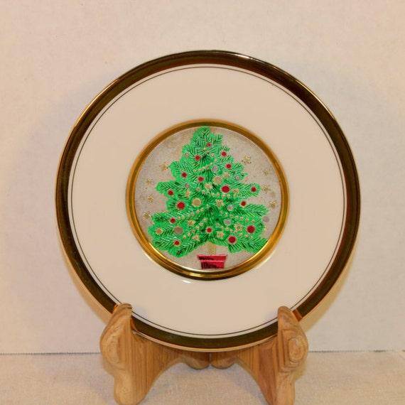Chokin Christmas Tree Plate 24K Gold Vintage The Art of Chokin Decor Plate Christmas Decoration Christmas Collectible Holiday Collection