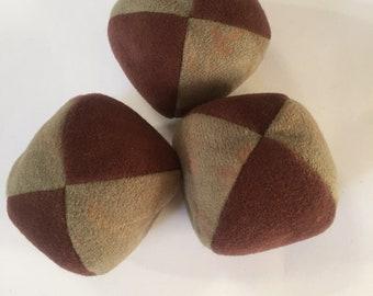 100g - 3 Soft PJ JUGGLING BALLS - Brown and Subtle Floral Moss