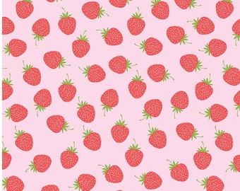 Strawberries on Pink from Riley Blake Fabric's Butterflies and Berries Collection