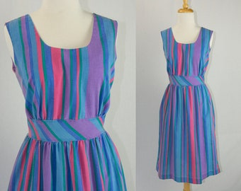 Vintage 1980's Violet Rainbow Stripe Dress by Rosemary Long