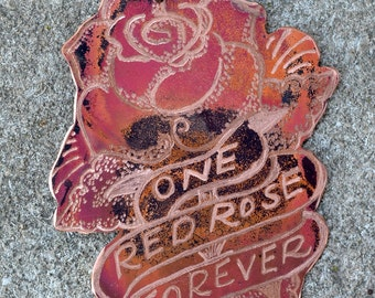 """Classic  Tattoo Flash """"One Red Rose Forever"""" Sailor Jerry Necklace  Hand Engraved & Heat Patinaed, Classic Tatto Flash Inspired: Inkd1"""