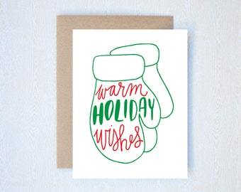 Warm Holiday Wishes Christmas Card Letterpress Printed Handlettered Calligraphy Handlettering