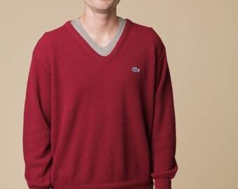 Maroon Lacoste Sweater // Vintage Lacoste Sweater // Maroon Sweater