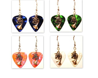 French Horn Musical Instrument Charm Guitar Pick Earrings - Choose Color - Handmade in USA