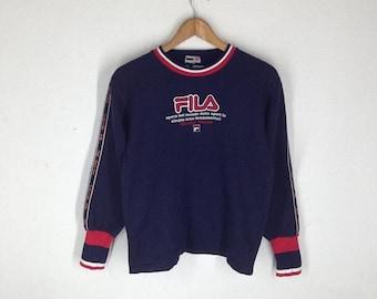 SALE 40% OFF Rare!!Vintage 90's FILA Sweatshirt big Logo embroidery Pullover Jumper Hip Hop Swag colour size 150