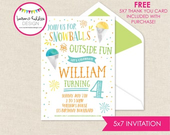 Snow Cone Birthday, Snow Cone Birthday Invitation, Snow Ball Printables, Snowball Birthday Invitation, Lauren Haddox Designs