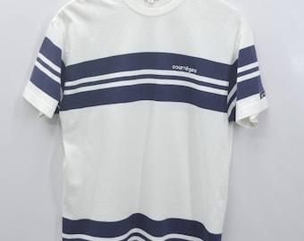 COURREGES Shirt Vintage 90's Courreges Paris Spell Out Stripe Tee T Shirt Size M