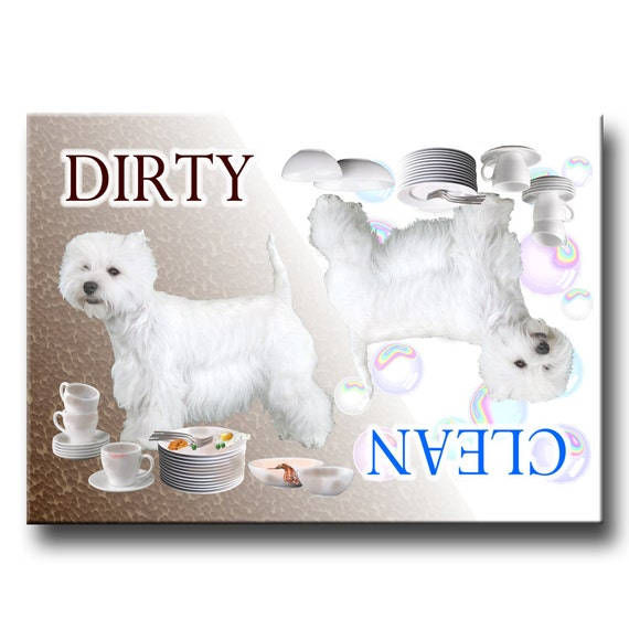 West Highland White Terrier Clean Dirty Dishwasher Magnet