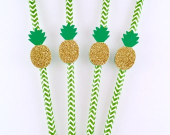 Pineapple Paper Straws - Tropical Party - Pineapple Party - Palm Trees - Pineapple Decorations