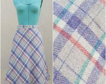 Vintage Plaid Skirt - 1980's Beige Wool Midi Skirt by White Stag - Purple Green Coral - Preppy Chic Fall Fashion - Size Medium
