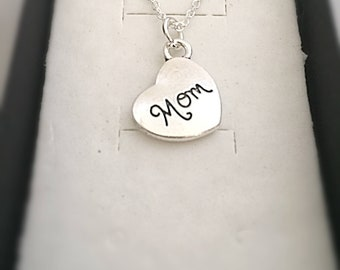 "Engraved ""Mom"" Necklace Jewelry Gift, Mother Heart Necklace, Mom Birthday Gift, Engraved Mom Jewelry, Silver Mother Gift, Mom Heart Gifts"