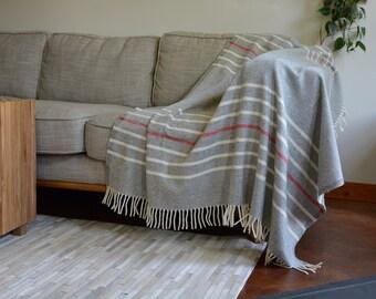 100% Wool Cannon River by Faribault Mill Blanket | Grey Wool Blanket with Stripes | Handcrafted Faribault Woolen Mills Pure Wool Blanket