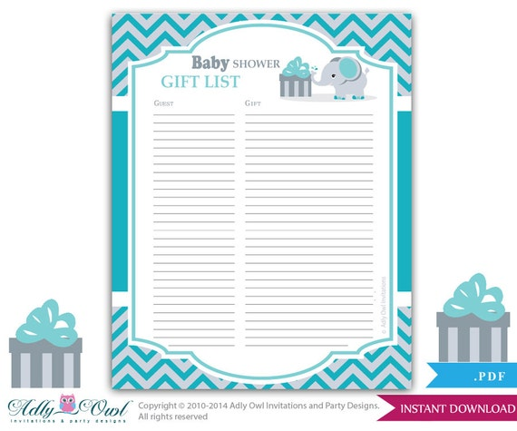 boy elephant guest gift list guest sign in sheet card for