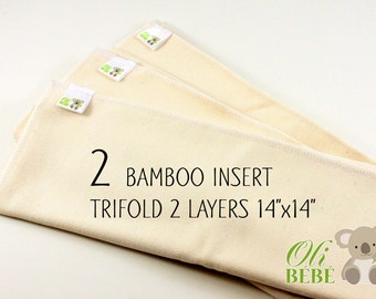 Bamboo insert - Set of 2 - Regular - Trifold - 2 layers - Cloth Diaper Insert - Pocket Diaper - Ready to ship - Doublers - Eco friendly