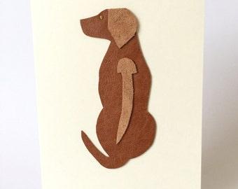 Rhodesian Ridgeback Dog Leather Art Cards Greeting Cards Fancy Cards Handmade in UK Blank Cards
