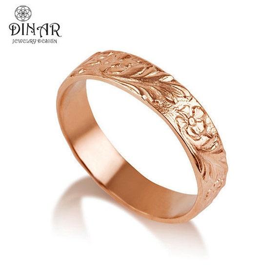 14k Rose Gold Flower Wedding Band Handmade Flower Engraved
