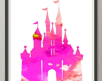 pink purple cinderella castle, disney cinderella castle print, princess castle print, castle watercolor print, disney wall art print