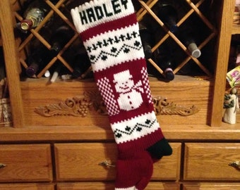 Personalized Christmas Stocking, Stockings, knitted, snowman, snowmen, wedding gift, new baby gift, Moeggenborg Sugar Bush, unlined