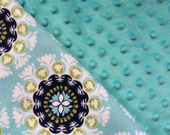 Baby Car Seat Canopy COVER or NURSING Cover: Turquoise Floral Bursts with Bright Teal Minky, Personalization Available