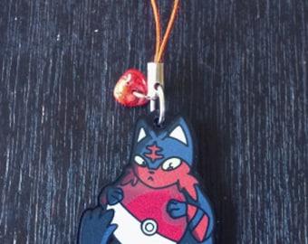 1.5 Inch Litten Acrylic Phone Charm, Keychain, Christmas Ornament - Pokemon Sun Moon, Pokeball, Kitten, Black Cat, Alola Fire Starter