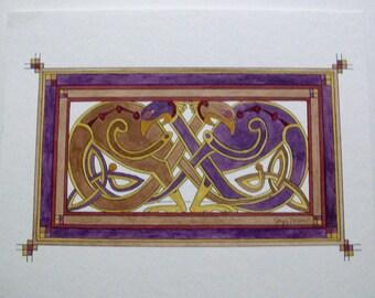 "Original Watercolor Painting ,Celtic art, Regan Fein, purple, Irish, Ireland. 11 1/4"" x 9"""