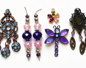 craft lot destash of salvaged earring pendants, charms, dangles with missing rhinestones for repurposing--mixed lot of 6