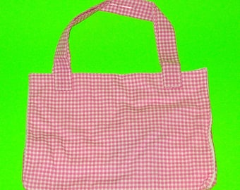 Pink Gingham Plaid Printed Classic Handbag Purse