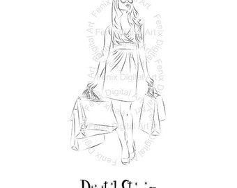 Digital Stamp,Clipart,Line art,Fashion Girl Lady shopping graphics,Digi stamp,digistamp,Art print,fashion Illustration INSTANT DOWNLOAD