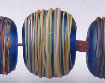 Blue Lampwork glass bead set (5) Blue round beads Blue beads lampwork Blue beads Blue glass beads Blue rainbow cocoon Anne Londez SRA OOAK