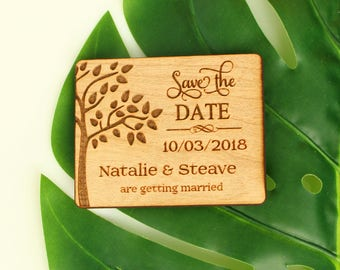 SALE, Tree Save the Date Magnet, Wood Save the Date Magnet, Unique Save the Date, Personalized,Cutom save the date
