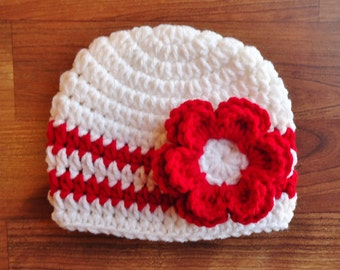 Crocheted White Baby Girl Hat with Red Flower, Baby Shower Gift, Newborn Photo Prop, White & Bright Red - Newborn to 5T - MADE TO ORDER