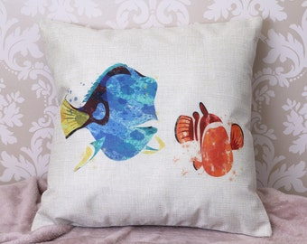 Finding nemo dory splash colour inspired cushion pillow cover 45 by 45 cm  gift
