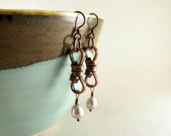Love Knots Bronze and Silver Pearl Earrings Casual Everyday Wear