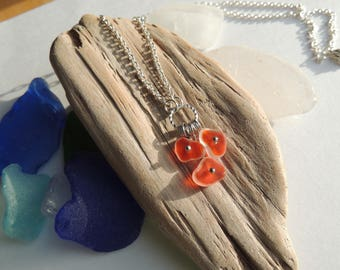 Red and Clear Sea Glass Necklace, Authentic Sea Glass