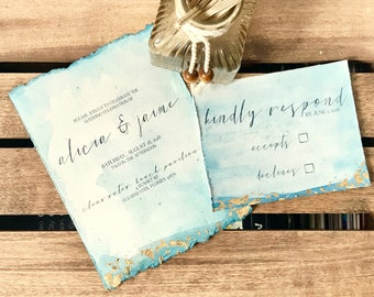 Gold Leaf Watercolor Invitation Suite