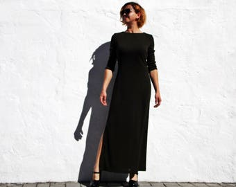 Khaki maxi dress khaki dress maxi fitted dress maxi minimalist dress maxi elegant dress maxi split dress bodycon dress dark green moss dress